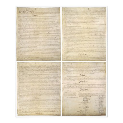 All 4 Original Pages of United States Constitution Art Photo