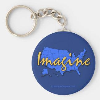 All 50 States Blue Keychain
