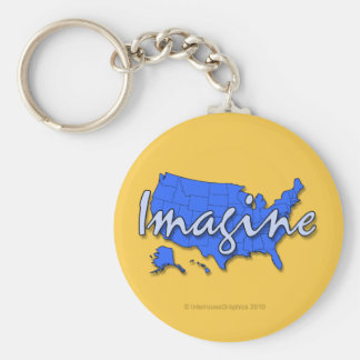 All 50 States Blue Keychains