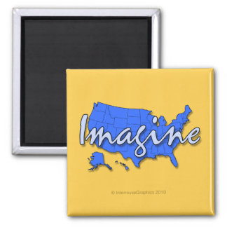All 50 States Blue Magnets