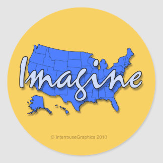 All 50 States Blue Stickers