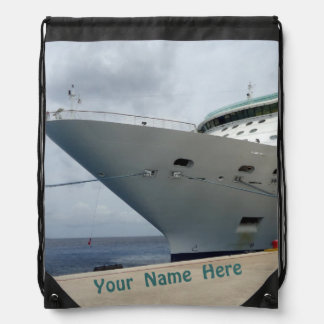All Aboard Personalized Name on Drawstring Bag