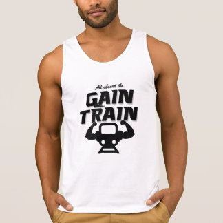 All Aboard The Gain Train men's white tank top