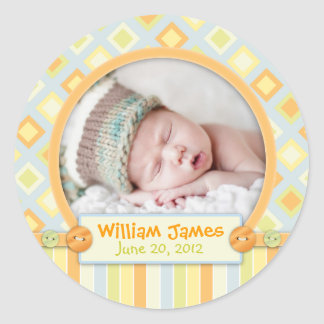 All Aboard Train Birth Announcement Classic Round Sticker