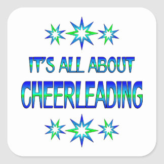 All About Cheerleading Square Sticker