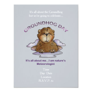 All About Me Groundhog Day Party Invitation