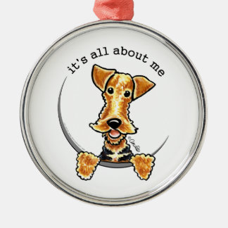 All About the Airedale Terrier Silver-Colored Round Ornament