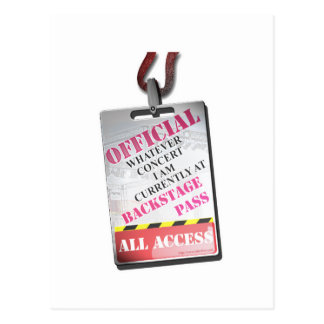 All Access Backstage Pass Postcard