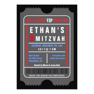 ALL ACCESS VIP PASS Bar Mitzvah Invitation