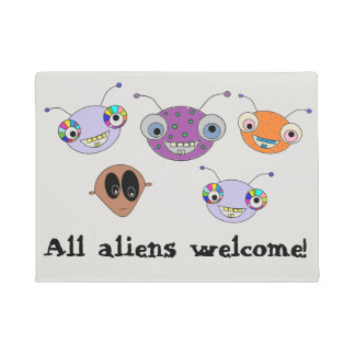 All aliens welcome Cute Aliens Design Doormat