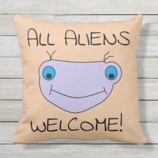 ALL ALIENS WELCOME Cute Smiley Alien Reversible Throw Pillow