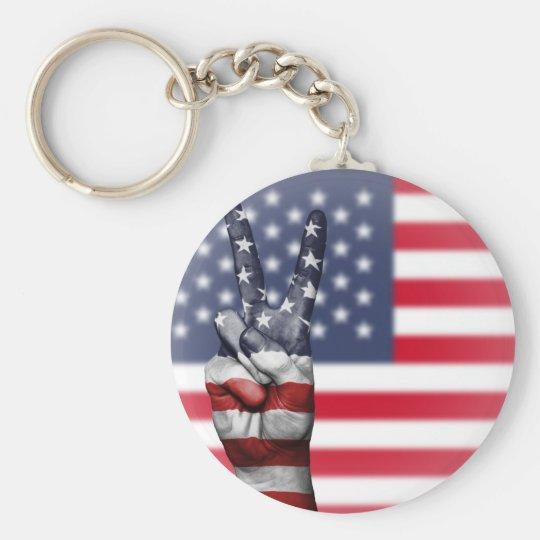 All American Basic Round Button Keychain