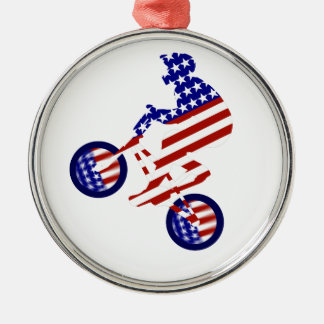 All-American BMX Rider Silver-Colored Round Ornament