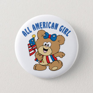All American Girl Bear 2 Inch Round Button