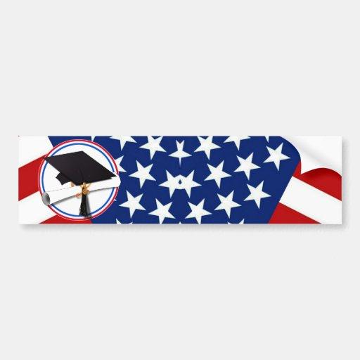 All American Grad - Red White & Blue on Stars Bumper Sticker
