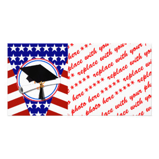 All American Grad - Red White & Blue on Stars Customized Photo Card