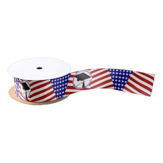 All American Grad - Red White & Blue on Stars Satin Ribbon