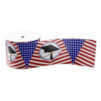All American Grad - Red White & Blue on Stars Grosgrain Ribbon