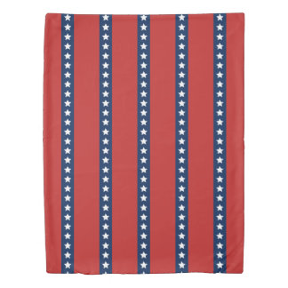 All-American Red White and Blue Patriotic Stripes Duvet Cover