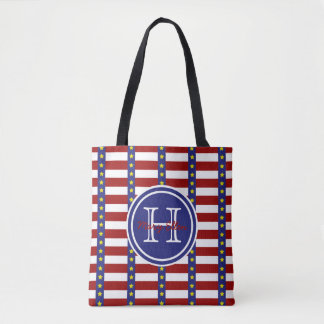 All American Stars and Stripes Monogram Tote Bag