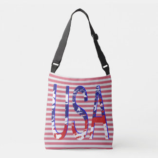All American USA Flag Logo Striped Crossbody Bag