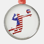 All-American Volleyball Player Silver-Colored Round Ornament
