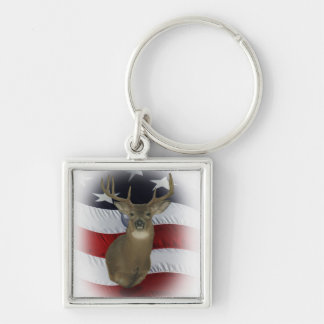All American Whitetail Deer Hunter Keychain