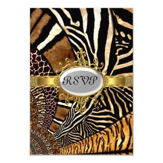 "All Animal Skin look Birthday Party RSVP 3.5"" X 5"" Invitation Card"