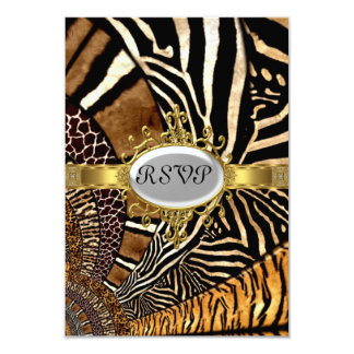 "All Animal Skin look Birthday Party RSVP 3.5"" X 5"" Invitation Card"