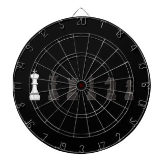 All black one white, chess pieces dartboard