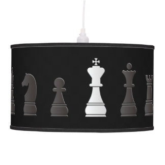 All black one white, chess pieces hanging pendant lamps