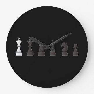 All black one white, chess pieces wallclock