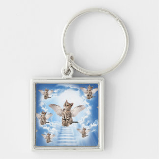 All Cats Go to Heaven Silver-Colored Square Keychain