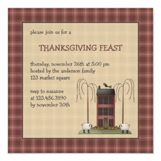 """All dem Blessings · Sheep & Saltbox House 5.25"""" Square Invitation Card"""