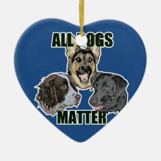 All dogs matter ceramic heart ornament