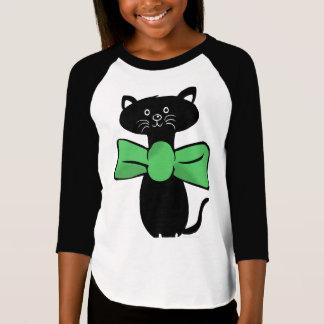 All Dressed Up Cat Bow 3/4 Sleeve Raglan T-Shirt