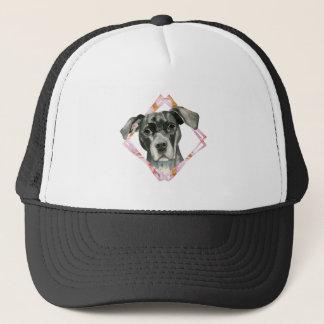 """""""All Ears"""" 2 Black Pit Bull Dog Illustration Trucker Hat"""