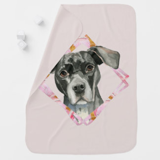 """""""All Ears"""" 2 Pit Bull Dog Watercolor Painting Baby Blanket"""