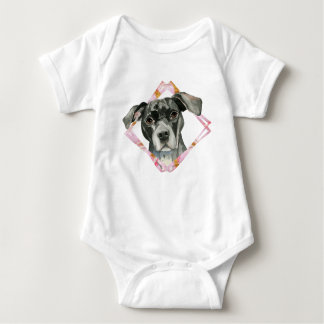 """""""All Ears"""" 2 Pit Bull Dog Watercolor Painting Baby Bodysuit"""