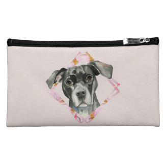 """""""All Ears"""" 2 Pit Bull Dog Watercolor Painting Cosmetic Bag"""
