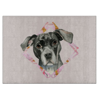 """""""All Ears"""" 2 Pit Bull Dog Watercolor Painting Cutting Board"""