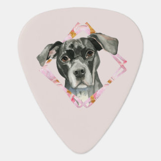 """""""All Ears"""" 2 Pit Bull Dog Watercolor Painting Guitar Pick"""