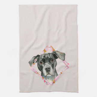 """All Ears"" 2 Pit Bull Dog Watercolor Painting Kitchen Towel"