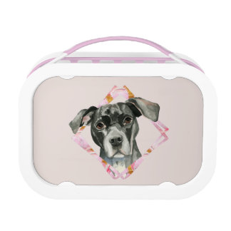 """All Ears"" 2 Pit Bull Dog Watercolor Painting Lunch Box"