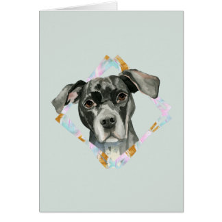 """All Ears"" Pit Bull Dog Watercolor Painting Card"