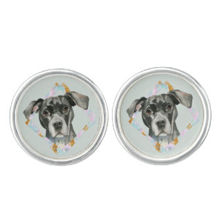 """All Ears"" Pit Bull Dog Watercolor Painting Cufflinks"