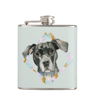 """""""All Ears"""" Pit Bull Dog Watercolor Painting Hip Flask"""