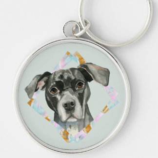 """""""All Ears"""" Pit Bull Dog Watercolor Painting Keychain"""