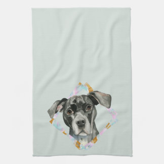 """All Ears"" Pit Bull Dog Watercolor Painting Kitchen Towel"