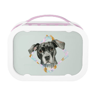 """All Ears"" Pit Bull Dog Watercolor Painting Lunch Box"